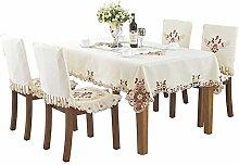 Handgefertigte weiße Tischdecke im Landhausstil,