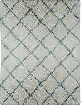 Handgefertigter Flokati-Teppich Senath in Grau