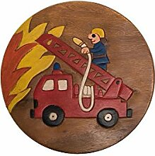 Handgefertigter Kinderhocker, Holz, Kinderhocker:Feuerwehrauto