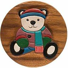 Handgefertigter Kinderhocker, Holz, Kinderhocker:Teddy
