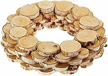 handgefertigter Kranz aus Birkenscheiben Dekokranz Holz natur Größe circa 38 x 38 x 8 cm
