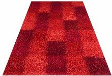 Handgefertigter Shaggy-Teppich Kerala in Rot