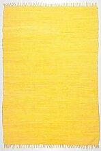 Handgefertigter Teppich Happy Cotton in Gelb Teppichgröße: 160 x 230 cm
