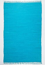 Handgefertigter Teppich Happy CottonSky Blue in Türkis Teppichgröße: Läufer 70 x 250 cm