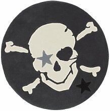 Handgefertigter Teppich in Dunkelgrau Rock Star