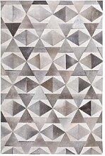 Handgefertigter Teppich Joey aus Kuhfell in Grau