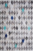 Handgefertigter Teppich Josie aus Kuhfell in Grau