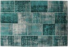 Handgefertigter Teppich Keesee in Türkis