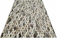 Handgefertigter Teppich Pavo aus Kuhfell in Grau