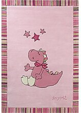 Handgefertigter Teppich  Sweet Dragon in Rosa