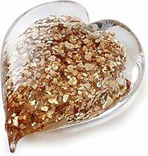 Handgefertigtes Glas Herz von Dynasty Galerie Gold
