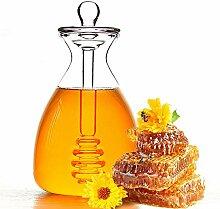 Handgefertigtes Honigglas mit Dipper, Honigtopf