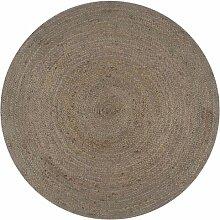 Handgeflochtener grauer Teppich mit Geflecht