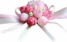 Handgelenk Blume Armband Armschmuck Hochzeit Bridal Wrist Simulation Blumen Rosen Dekor Prom Party Zubehör (Rosa)