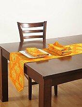 Handgemachte Gedruckten Läufer Und Servietten Set, Ente 100 % Baumwolle, Rnp07-1451, Gelb