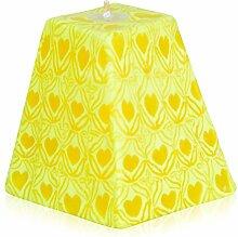 Handgemachte Kerze, Happy Hearts Yellow, Pyramide M