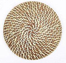 Handgemachte natürliche runde Rattan Tischsets Isolierauflage, natürliche Farbe