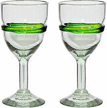 Handgemachtes Weinglas - mittlere Größe - recyceltes Glas - Gemischtes Grün – Set aus 2 Gläsern