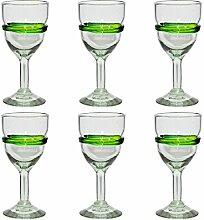 Handgemachtes Weinglas - mittlere Größe - recyceltes Glas - Gemischtes Grün - Set aus 6 Gläsern