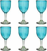 Handgemachtes Weinglas - mittlere Größe - recyceltes Glas – Türkis - Set aus 6 Gläsern