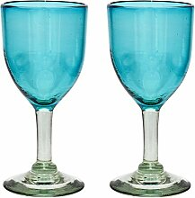 Handgemachtes Weinglas - mittlere Größe - recyceltes Glas – Türkis - Set aus 2 Gläsern