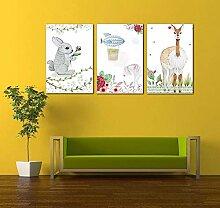 Handgemalte Kaninchen Elch Kombination Cartoon