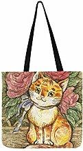Handgemalte Katze Garten Leinwand Tote Handtasche