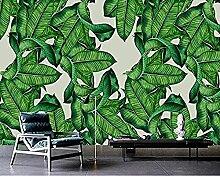 Handgemalte Pflanze Bananenblatt Grüne Tapete