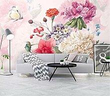 Handgemalter Blumengarten Hintergrund 3D Wallpaper