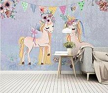 Handgemaltes rosa Einhorn Fototapete Kinderzimmer