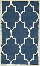 Handgetufteter Teppich Rotteck in Navyblau Canora
