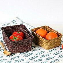 Handgewebte Seaweed Küche Obst-Speicher-Korb-Medizin-Kasten , s , yellow