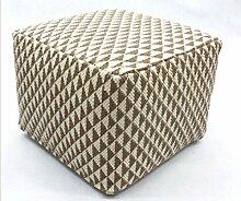 Handgewebter Polsterhocker / Sitzwürfel, Braun-Beige , 45x45x35cm (S5)