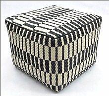 Handgewebter Polsterhocker / Sitzwürfel Schwarz-Weiss , 45x45x35cm (S2)
