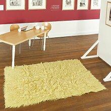 Handgewebter Teppich Flokati in Gelb