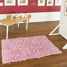 Handgewebter Teppich Flokati in Rosa