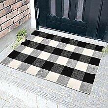 Handgewebter Teppich, klassisch, kariert, Weiß /