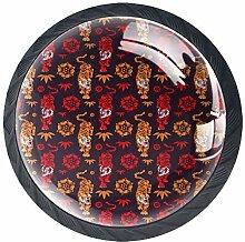 Handgezeichnete Tigers Möbelknöpfe aus ABS-Glas,
