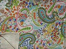 Handicrunch Weiß Gedruckt Paisley Kantha Quilt, Indian Cotton Tagesdecke , Queen-Size- Bett-Blatt- Wende , Handmade Kantha Werfen , Indien