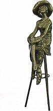 Handmade Bronze Skulptur Bronze Statue Rare Model Sitzen Auf Stuhl Jugendstil Deko Figur-JPep-472- Decor Sammler Geschenk