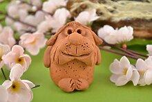 Handmade Dekofigur Hund Keramik Deko Figur aus Ton wunderschon braun