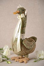 Handmade Gans Figur Dekoration aus Naturmaterialien Deko Ideen schon wei?