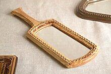 Handmade Handspiegel mit Griff Spiegel mit Holzrahmen Geschenk für Frau