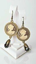 Handmade Kamee Ohrringe ausgefallener Ohrschmuck Frauen Geschenk elegan