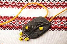 Handmade Ketten Anhanger Leder Schmuck Accessoires fur Frauen gelb schwarz