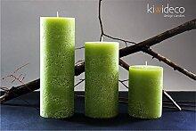 Handmade Rustic Pillar Large Candles Set (Green
