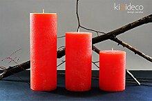 Handmade Rustic Pillar Large Candles Set (Orange)