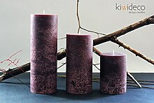 Handmade Rustic Pillar Large Candles Set (Purple)