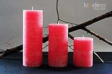 Handmade Rustic Pillar Large Candles Set (Rose) -