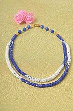 Handmade Schmuck Rocailles Kette Collier Halskette Accessoires fur Frauen blau